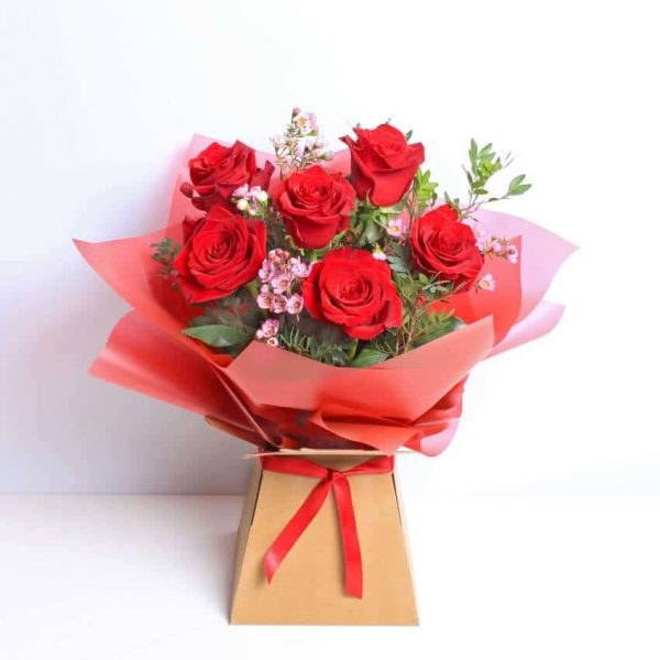 6 Red Roses Bouquet of Flowers
