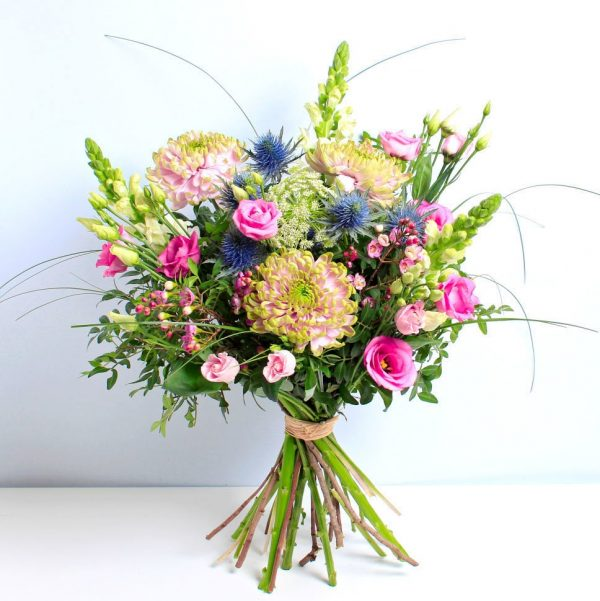 Pink and Blue bouquet of flowers