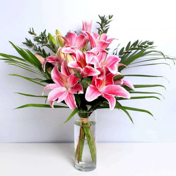 Pink Lillies in a Vase Delivered