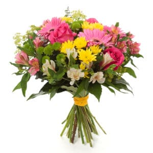 bouquet made of Alstroemeria, Gerber, Rose and Chrysanthemum fl